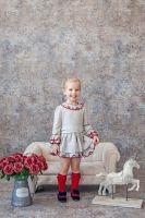 Girls Miranda Red and Beige Dress 226