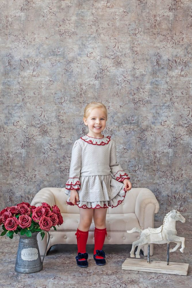 PRE ORDER AW20/21 Girls Miranda Red and Beige Dress 226