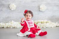 Girls Miranda Red and Cream Dress 150