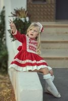 Girls Miranda Red and Cream Dress 250
