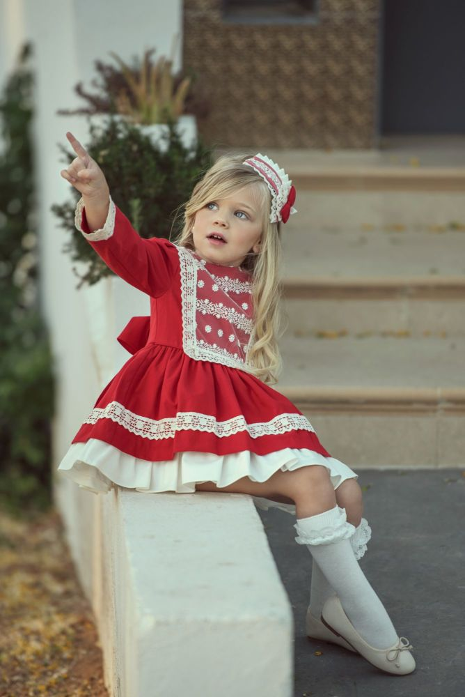 PRE ORDER AW20/21 Girls Miranda Red and Cream Dress 250
