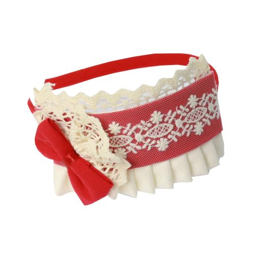PRE ORDER AW20/21 Girls Miranda Red and Cream Headpiece 250D