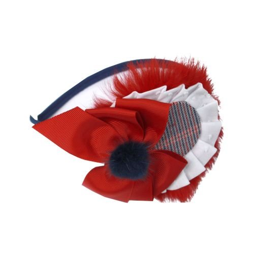 PRE ORDER AW20/21 Girls Miranda Red and Grey Headpiece 263D