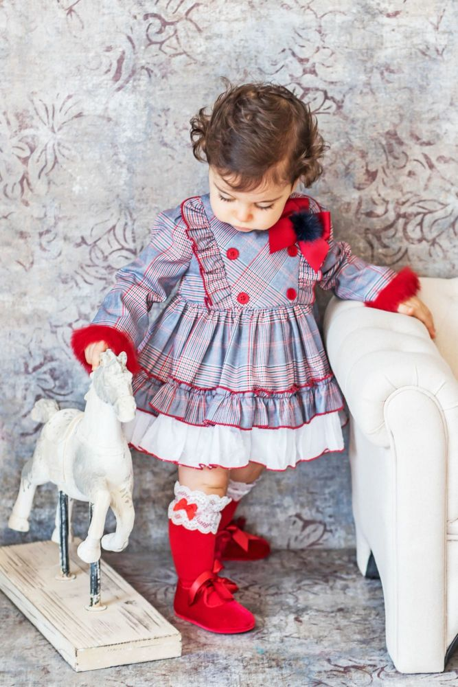 PRE ORDER AW20/21 Girls Miranda Red and Grey Tartan Dress 163