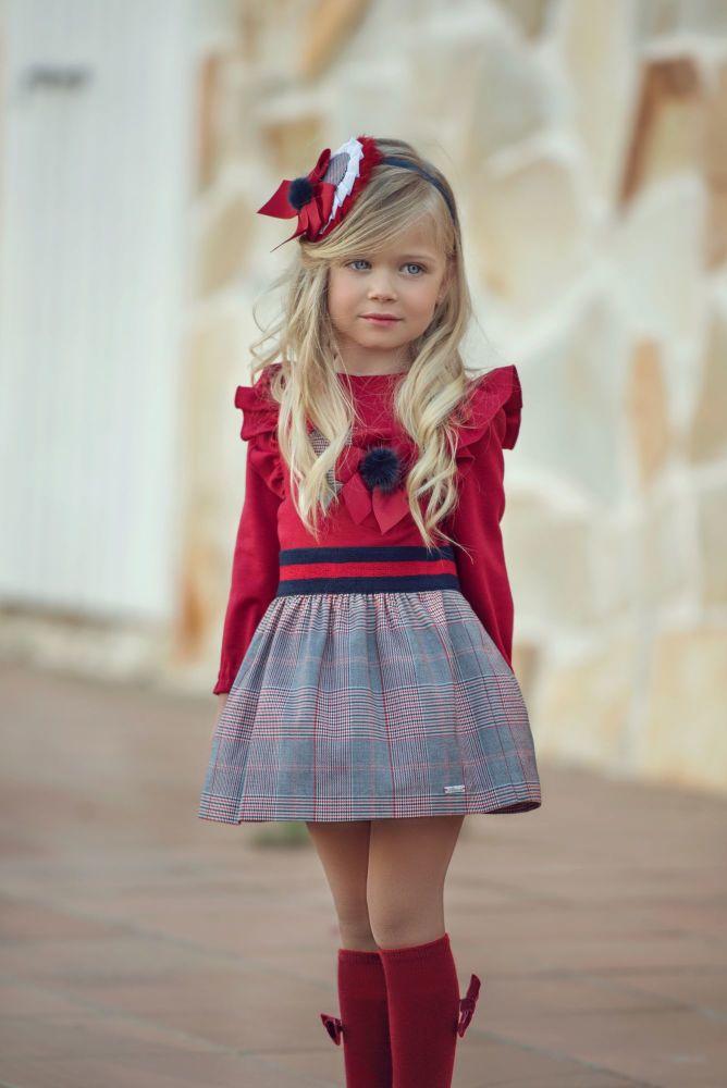 PRE ORDER AW20/21 Girls Miranda Red and Grey Tartan Dress 261