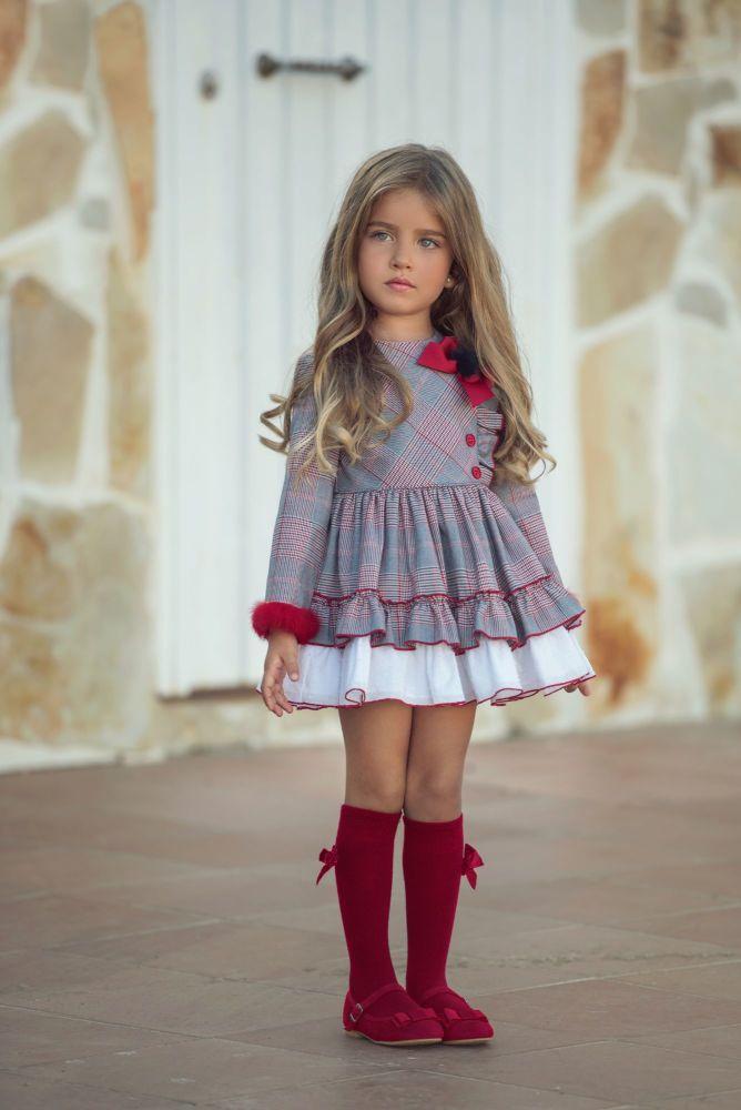 PRE ORDER AW20/21 Girls Miranda Red and Grey Tartan Dress 263