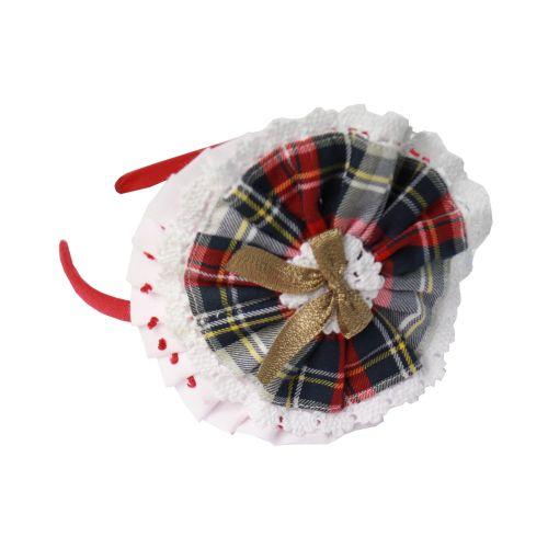 PRE ORDER AW20/21 Girls Miranda Red Tartan Headpiece 228DP