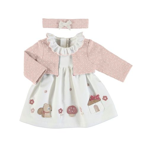 Girls Mayoral Dress with Cardigan 2851 - Pink 66