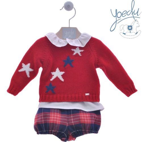 Boys Yoedu Blue and White Set 205 Red