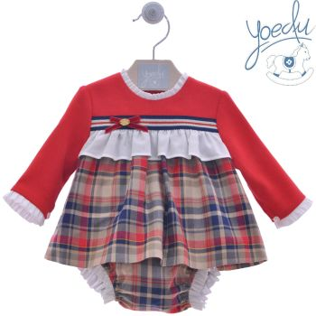 Girls Yoedu Red and Camel Dress and Pants 2045