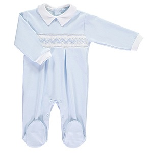 Mini la Mode Smocked Babygrow - Classic White and Blue
