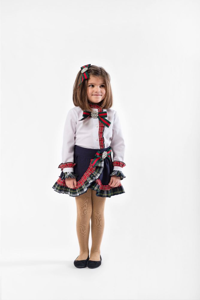 Girls Naxos Navy Tartan Set 6638