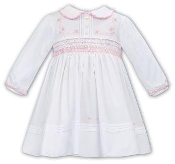Girls Sarah Louise Dress 012068 - White and Pink
