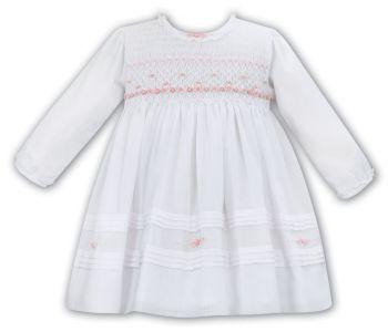 Girls Sarah Louise Dress 012053 White and Pink