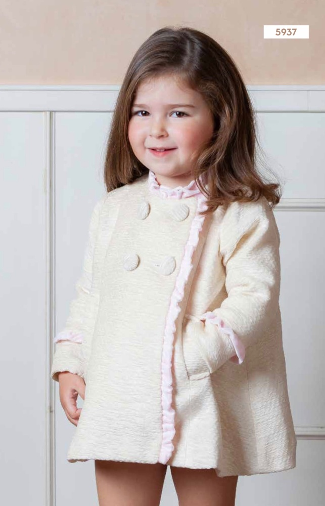 PRE ORDER AW20/21 Girls DBB Collection Cream and Pink Coat 5937