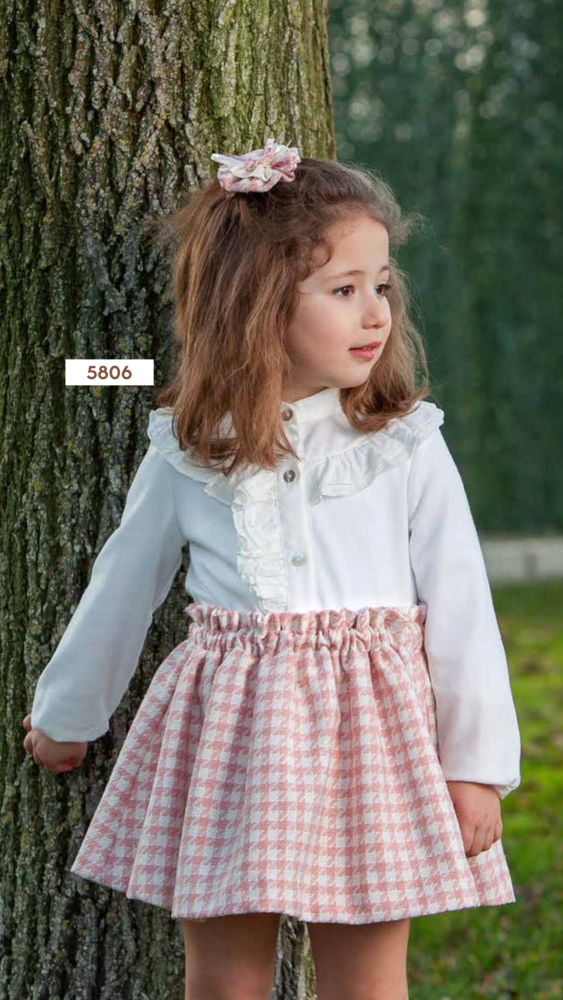 PRE ORDER AW20/21 Girls DBB Collection Pink and White Skirt Set 5806