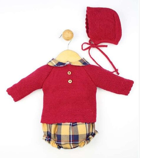 Boys Popys Burgundy, Navy and Mustard Set 23368