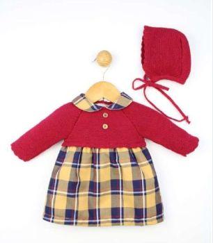 Girls Popys Burgundy, Navy and Mustard Dresss and Bonnet 23366