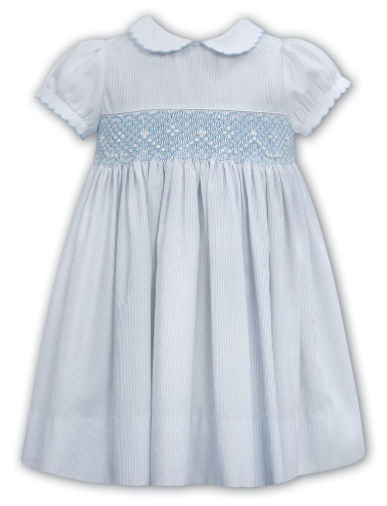 Girls Sarah Louise Dress 012117 - Ivory and Blue