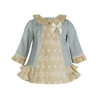 Girls Miranda Blue and Cream Dress 41