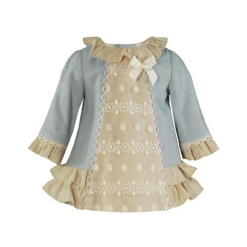 Girls Miranda Blue and Cream Dress 41