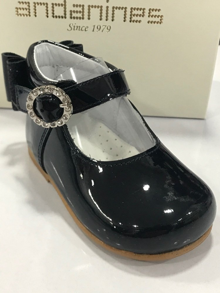 Girls Andanines Navy Patent Shoes 192830