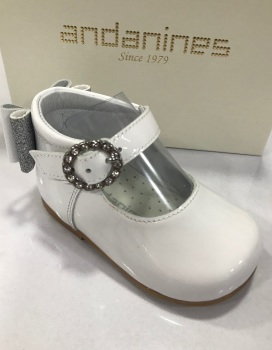 Girls Andanines White Patent Shoes 192830