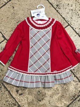 Girls Miranda Grey and Red Dress 276