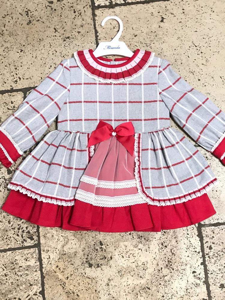 Girls Miranda Grey and Red Dress 275
