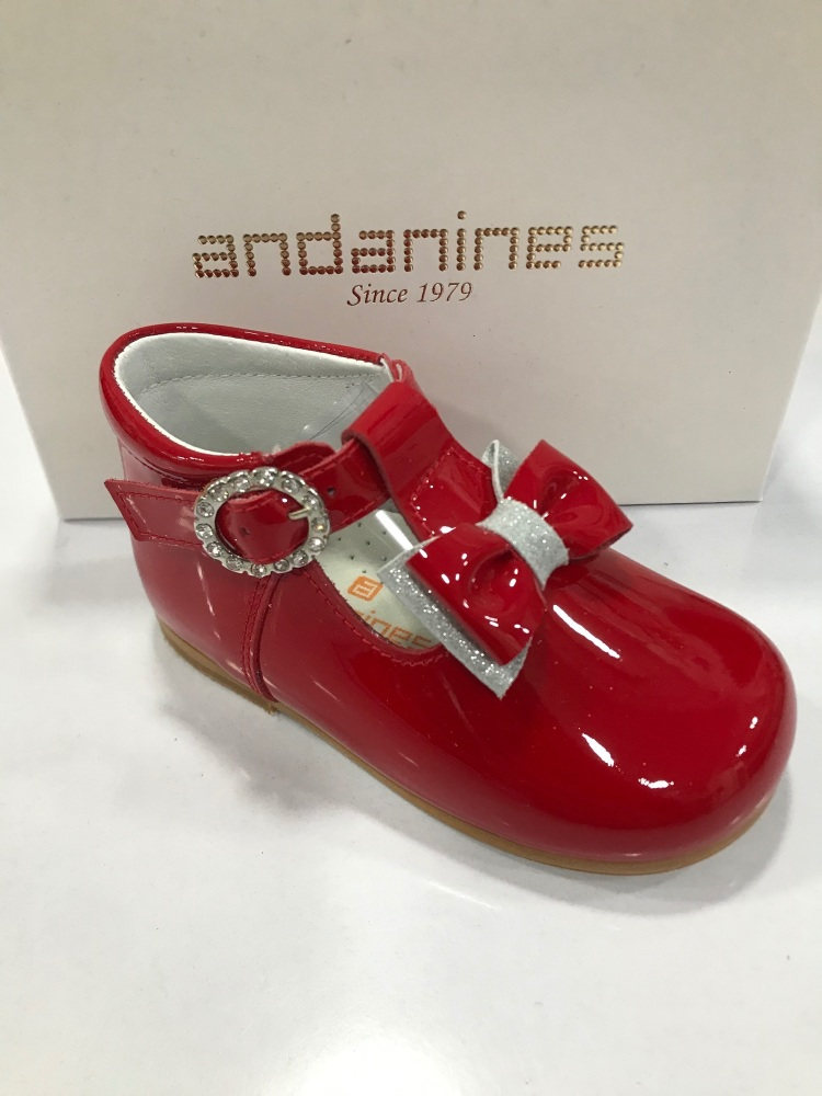 Girls Andanines Red Patent Mary Jane Shoes