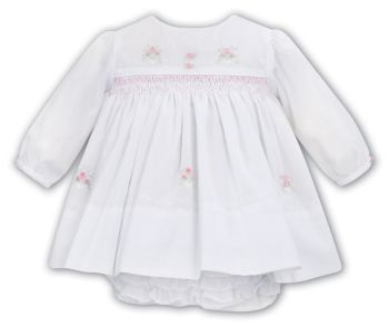 Girls Sarah Louise Dress and Pants 012027 White and Pink