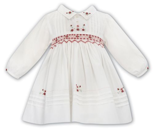 Girls Sarah Louise Dress 012062 Ivory and Apricot