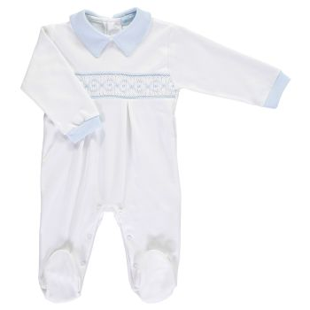 Mini la Mode Smocked Babygrow  SLBC05A White and Blue