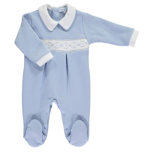 Mini la Mode Smocked Babygrow  SLBC05Q White and Blue Quilted