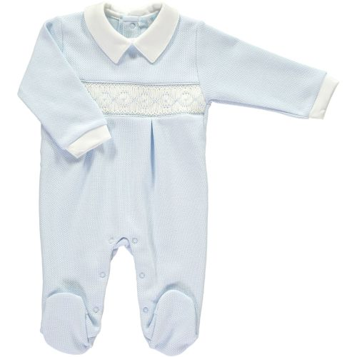 Mini la Mode Smocked Babygrow  SLBC06W Blue and White Italian Weave