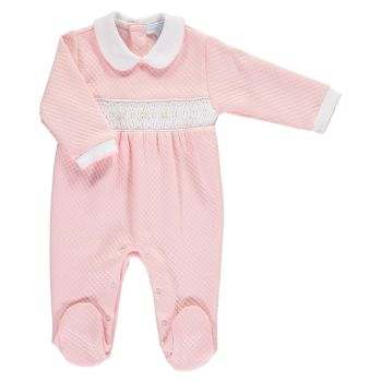 Mini la Mode Smocked Babygrow  SLBC07Q Pink and White Quilted