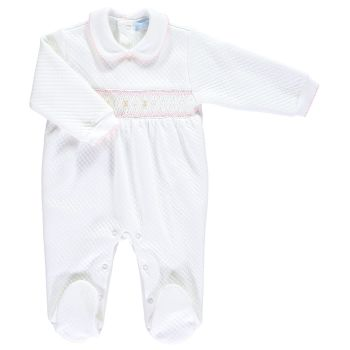 Mini la Mode Smocked Babygrow  SLBC07Q White and Pink Quilted