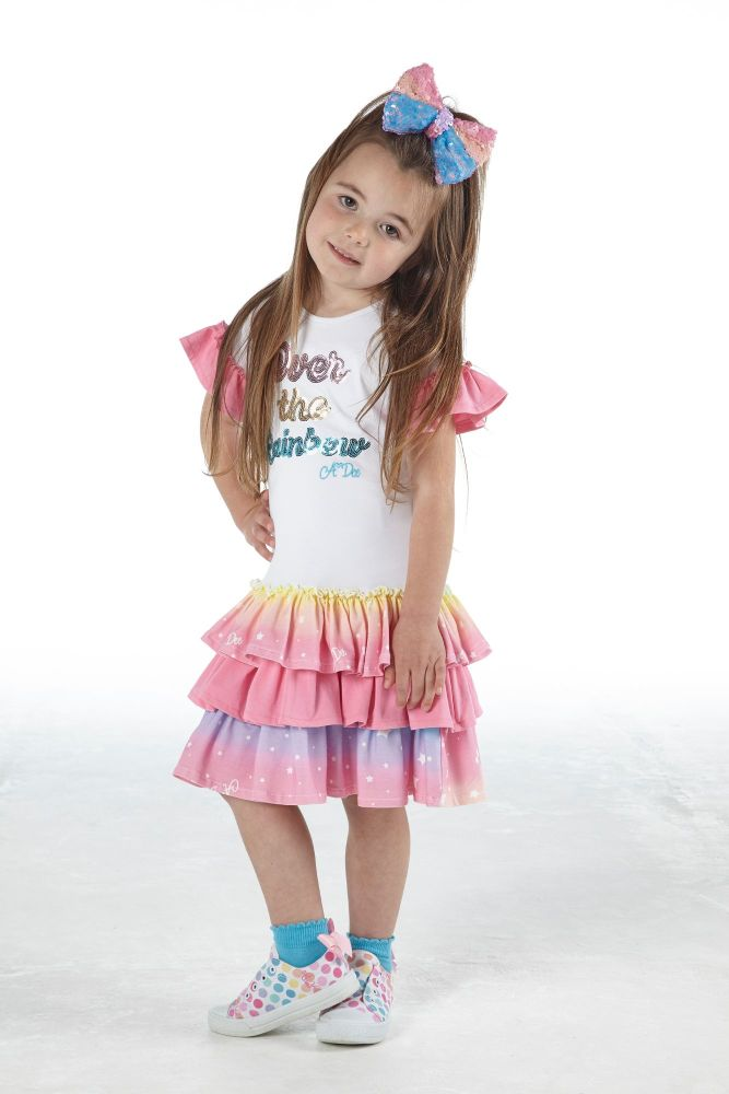 PRE ORDER SS21 Girls A*Dee Rainbows and Unicorns Collection Nannette Dress