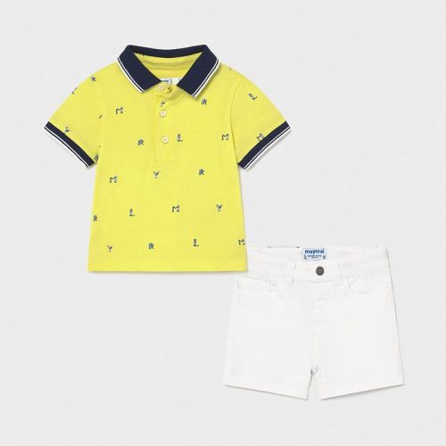 Boys Mayoral Polo Shirt and Shorts Set 1254 White