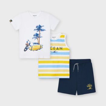 Boys Mayoral T Shirt, Vest and Shorts Set 3639 Yellow 73