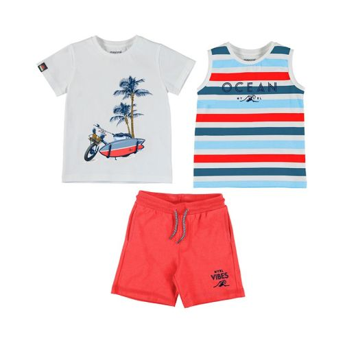 Boys Mayoral T Shirt, Vest and Shorts Set 3639 Cyber Red 76