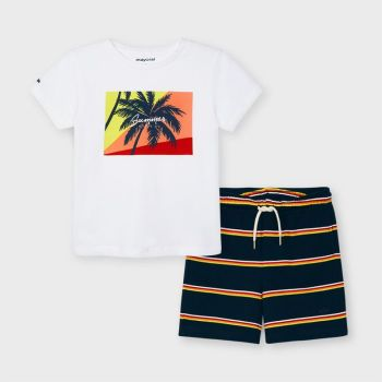Boys Mayoral T Shirt and Shorts Set 3642 White