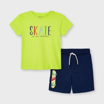 Boys Mayoral T Shirt and Shorts Set 3643 Green