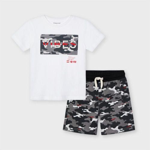 Boys Mayoral T Shirt and Shorts Set 3645 Silver 32