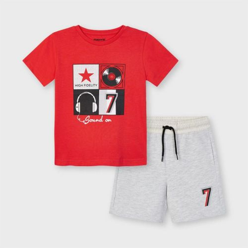 Boys Mayoral T Shirt and Shorts Set 3646 Cyber Red 37