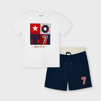 Boys Mayoral T Shirt and Shorts Set 3646 White 39