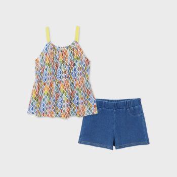 Girls Mayoral T Shirt and Shorts Set 6277 Lemon