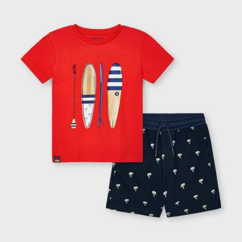 Boys Mayoral T Shirt and Shorts Set 3638 Cyber Red