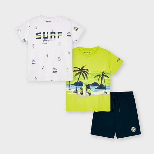 Boys Mayoral T Shirt and Shorts Set 3641 Green (2 T Shirts)