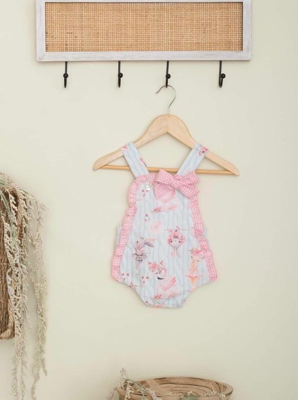 Girls Cuka Blue and Pink Romper 88644